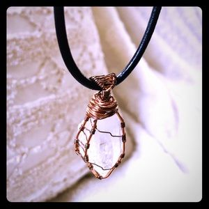 Winter white crystal necklace set in copper wire.